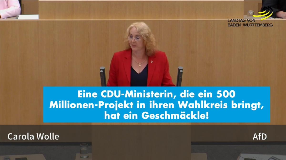 Eine CDU-Ministerin, die ein 500 Millionen-Projekt in ihren Wahlkreis bringt, hat ein Geschmäckle!