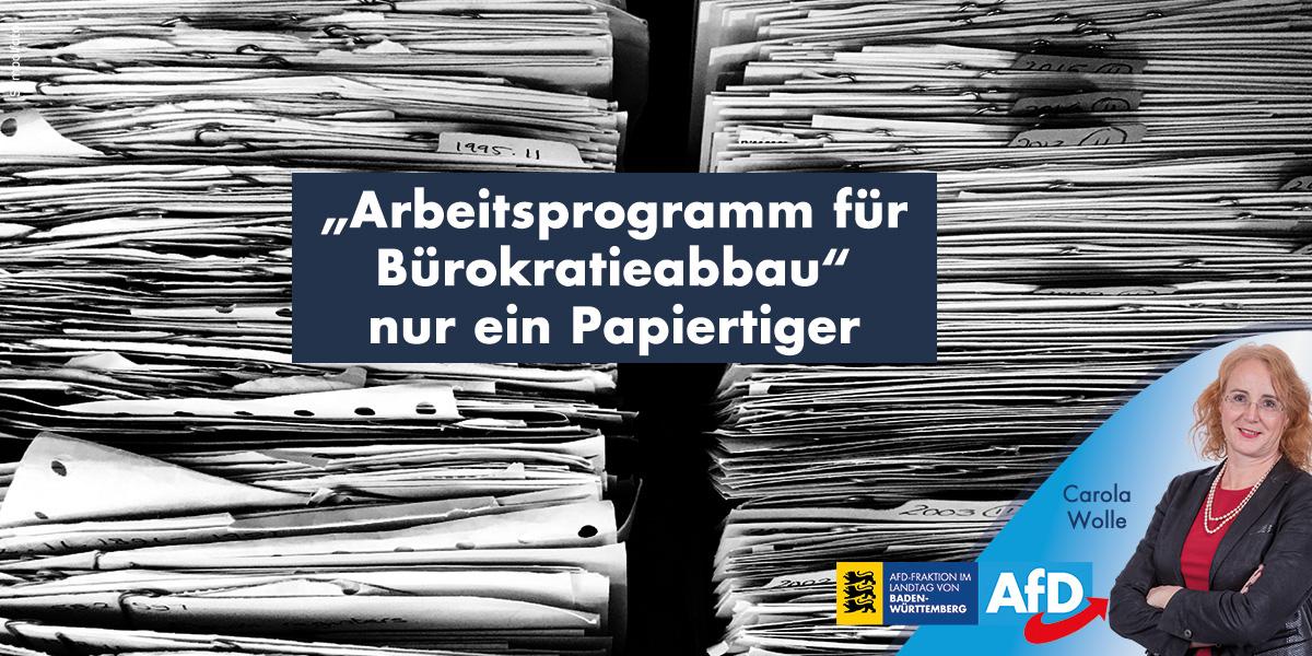 """""""Arbeitsprogramm der Landesregierung für Bürokratieabbau"""" entpuppt sich als Papiertiger"""