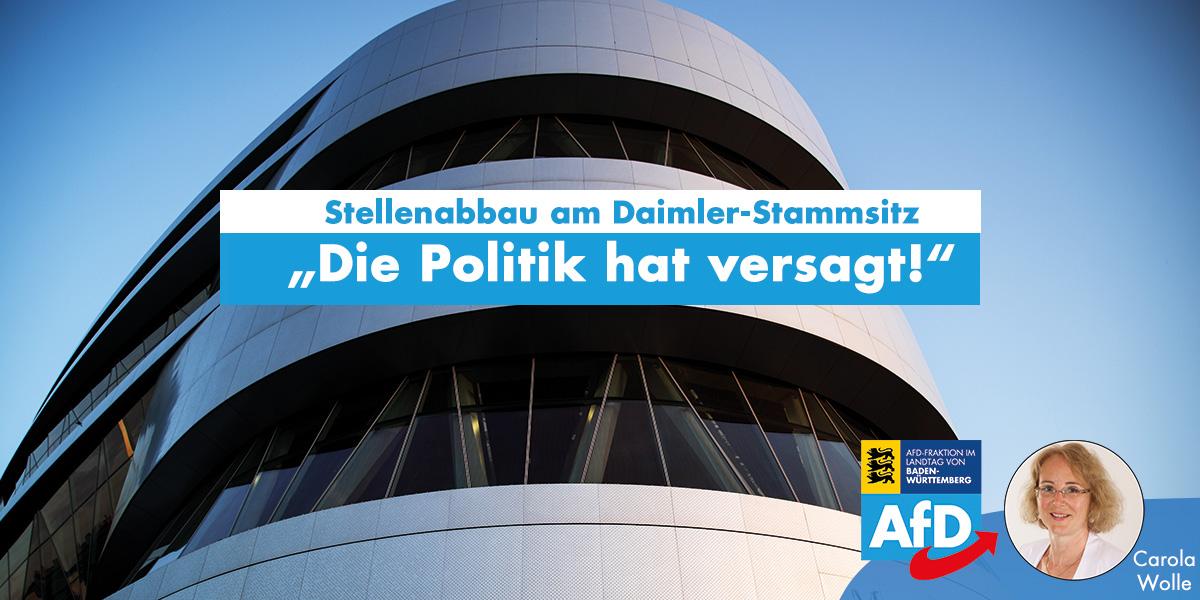 Carola Wolle: Stellenabbau am Daimler-Stammsitz ist politisch zu verantworten