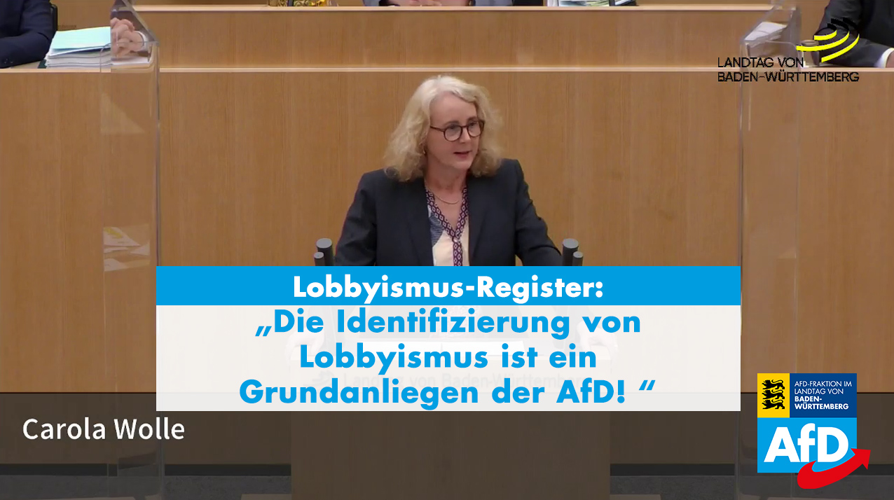 AfD-Landtagsfraktion fordert Lobbyismus-Register!