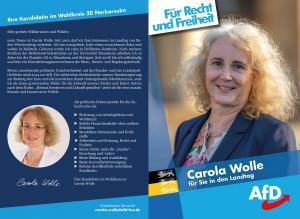 Flyer von Carola Wolle, Wahlkreis 20 Neckarsulm, zur Landtagswahl 2021