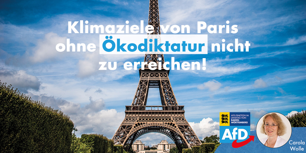 Carola Wolle: Klimaziele von Paris ohne Ökodiktatur nicht zu erreichen!
