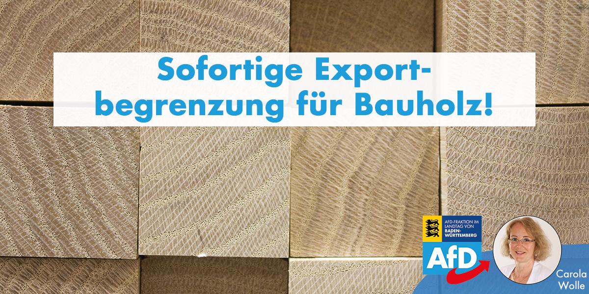 Carola Wolle: sofortige Exportbegrenzung für Bauholz!