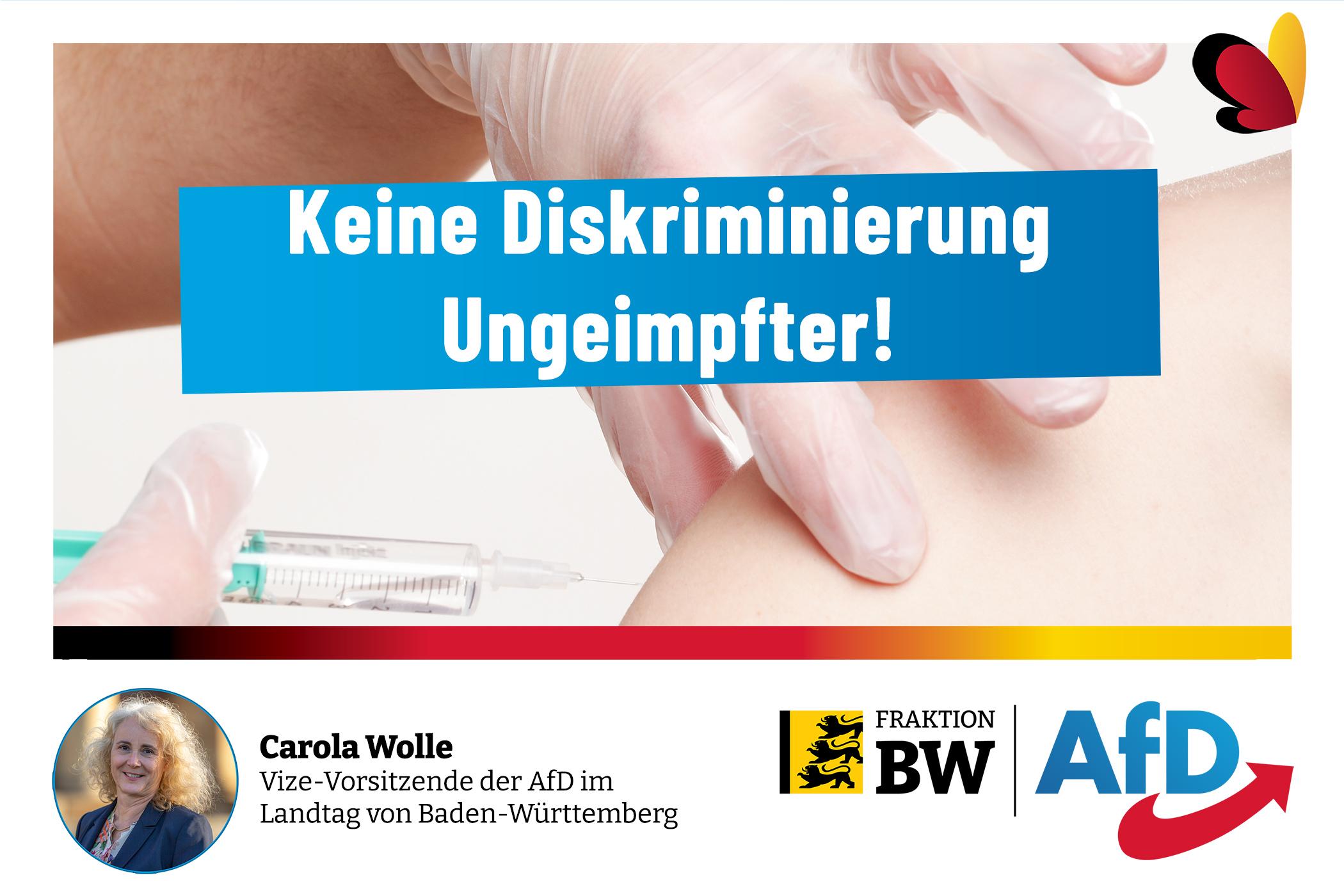 Carola Wolle: keine Diskriminierung Ungeimpfter
