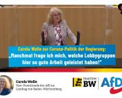 Landtagsrede Carola Wolle: Ihre Maßnahmen dürfen nicht mehr Schaden anrichten als die Krankheit!