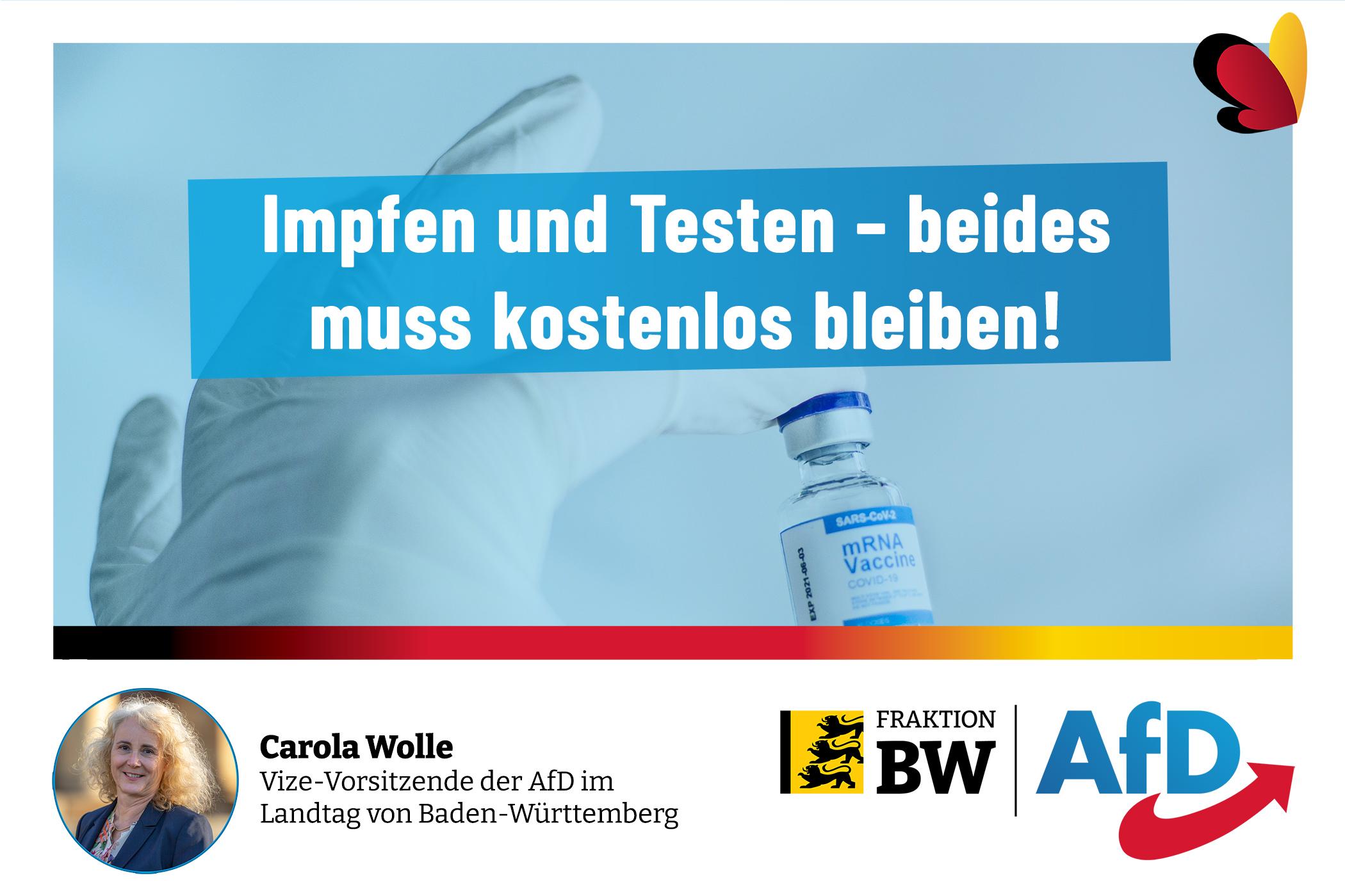 Bernd Gögel/Carola Wolle: Impfen und Testen – beides muss kostenlos bleiben